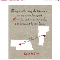 SALE Long Distance Textured Map Print- though miles may lie, measured by heart, us states custom map, long distance love, relationship map