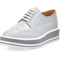 Prada Platform Brogue-Trim Leather Oxford