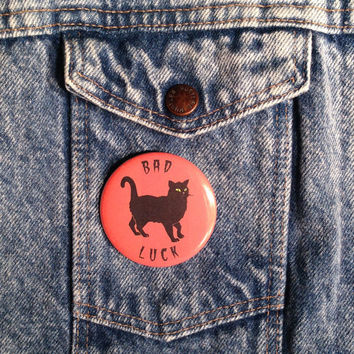 Black Cat Bad Luck Haloween Pinback Button Pin Badge X1 2.25 Inch Handmade New Spooky Horror Haunted Cats Movement Pinback Buttons
