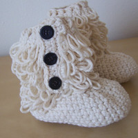 baby girl crochet ugg inspired furry booties winter clothing accessory button boots