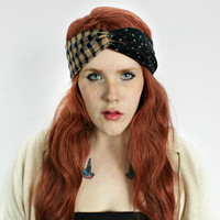 Hipster Headband, Turban Headband - Boho Grunge headband Hair Wrap. Handmade Turband Gypsy Indie headband // Pretty in Plaid
