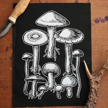 Mushrooms back patch - witchy fashion goth back patch dark mori style toadstool patch nature goth nature punk emo dark forest wicca style