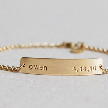 Gold Bar Bracelet /Nameplate Bracelet/Personalized Bracelet/Gold Chain/ Initials/Gold Fill/Wedding Gift/Bridesmaid Gift/Gift for Wife/B153G