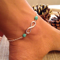 Mint Czech infinity anklet or friendship bracelet delicate simple everyday summer spring