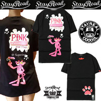 """""""Stay Real"""" Cute Casual Male Female Pink Panther Letter Print Round Neck Short Sleeve Couple Naughty Leopard Cotton T-shirt"""