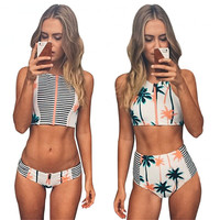 Print Floral Palm Tree Bikini Set High Neck Tank Zipper Striped Swimsuit