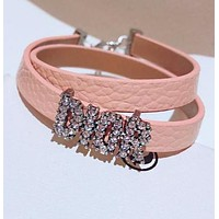 DIOR Fashionable Ladies Leather Letter Diamond Hand Catenary Bracelet Necklace Accessories Jewelry Pink