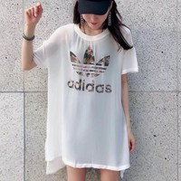 """Adidas"" Women Casual Fashion Camouflage Letter Logo Print Short Sleeve Dress"