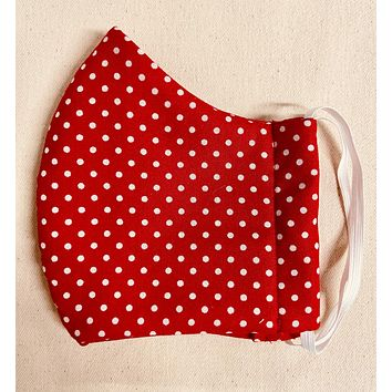 3 Layer Red polka dot Full Face Cup Shaped Mask | Cloth Mask with Non Latex Elastic