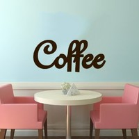 Coffee Logo Sign Emblem Wall Vinyl Decals Art Sticker Home Modern Stylish Interior Decor for Any Room Smooth and Flat Surfaces Housewares Murals Design Graphic Cafe Dining Room Kitchen Coffee Shop (4687)