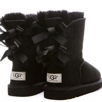 UGG:: bow leather boots boots in tube Shoes