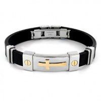 """Stainless Steel and Black Rubber Bracelet With Gold IP Cross - 8"""""""