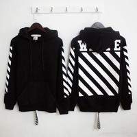 PEAPV9O OFF-WHITE Long-Sleeved Letter Printing Hooded Sweater