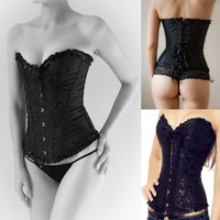 Black Brocade Corset Waist Trainer Lace Up Sexy Boned Overbust Waist Training Corsets And Bustiers Top Lingerie Plus Size TYQ