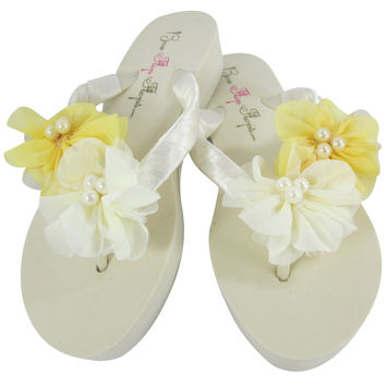 Lemon and Ivory Pearl Chiffon Flower Bridal and Bridesmaid Flip Flops
