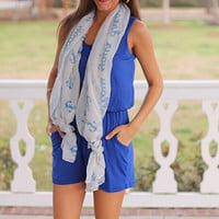 Jersey Shore Romper, Royal