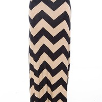 Zeal and Zest Zig Zag Maxi Skirt - Khaki from DNA at Lucky 21