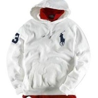 Polo Ralph Lauren Mens Big Pony Waffle Lined Hoodie, White (X-Large)