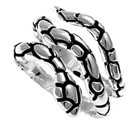 925 Sterling Silver Snake 18MM Ring