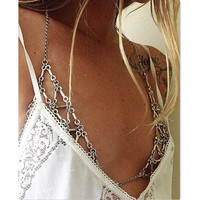 Vintage Bikini Cotte Stitch Tops Harness Bra Chain Breast Chain Bell Triangle Geometry  Body Chain Jewelry Necklace Boho