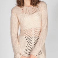 Dex Crochet Inset Womens Hi Low Sweater Natural  In Sizes