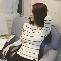 Korean Ladies Slim Stripes Tops Long Sleeve Split Knit T-shirts [8664675527]