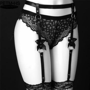 Sexy Women Men Leather Harness Waist Garter belt for Stockings Bow Handmade Punk Costume O-Round Waist Belt with 4 suspenders
