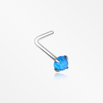 Fire Opal Sparkle Prong Set L-Shaped Nose Ring