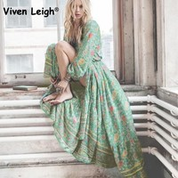 Viven Leigh 2017 Autumn Retro Maxi Dress Sexy Ethnic Deep V-neck Boho Floral Print Long Beach Dresses Boho Hippie Robe Vestidos