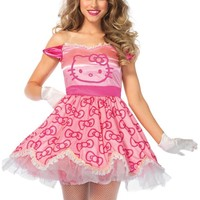 2PC.Pretty Pink Hello Kitty,satin bow print dress,plush hair piece in PINK