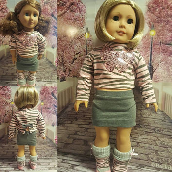 """18 inch doll clothes """"Pink Dazzle"""" 18 inch doll outfit ensemble will fit American Girl pink & gray Liberty Jane Pattern  D9"""