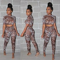 Women Sexy Leopard Two Piece Short Sleeve Crop Top Pant Set