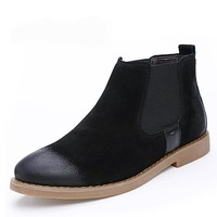 Chelsea Mens Boots Winter Warm  Suede Leather  Ankle Boots