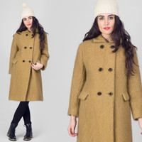 60s Camel Wool Peacoat / Minimalist Military Light Brown Double Breasted Coat / Mod Plain Mid Century Classic Medium M Coat