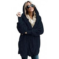 Gwenny Furry Fleece Hooded Open Cardigan Jacket