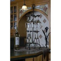 "Wire Black Wine Glass Rack Holder 25"" Height"