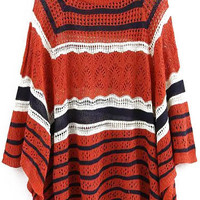 Orange Striped Knit Cape Sweater