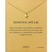 Dogeared Rising Star Drop 18K Gold Plated Chain Clavicle Necklace