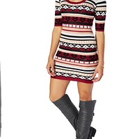 Burgundy Southwestern Sweater Dress