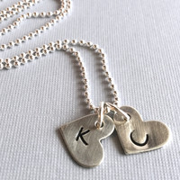 Heart Charm Initial Necklace, Hand Stamped Letter Charm, Sterling Silver Ball Chain