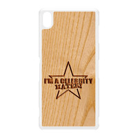Carved on Wood Effect_Celebrity Hater White Hard Plastic Case for Sony Xperia Z3 by Chargrilled