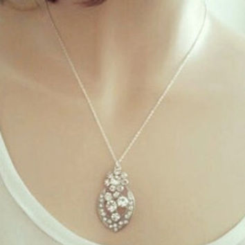 Crystal Pendant Necklace, Flower Crystal Sterling Silver Chain | LaLaMooD Jewelry