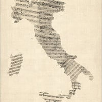 Old Sheet Music Map of Italy Map, Art Print (907)