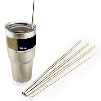 "4 LONG 10.5"" Stainless Steel Straight Straws fits 30 oz Yeti Tumbler Rambler Cups"