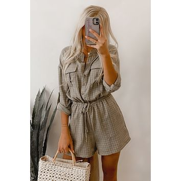 Naturally Chic Long Sleeve Checkered Romper (Olive)