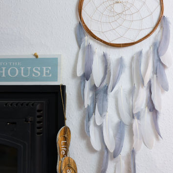 Long Dream Catcher Gray, White, Mint Green, Pink - Boho Girls Boys DreamCatcher Wall Hanging Baby Tribal Crib Baby Feathers New Baby nursery