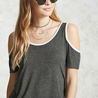 Contrast Open-Shoulder Top