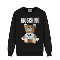 MOSCHINO Fashion Casual Lovely Bear Print Long Sleeve Sweater Sweatshirt Black