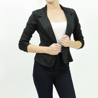 Cinched sleeve ponte one button closure fitted black blazer