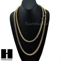 """Men's 316L Stainless Steel Gold 8mm wide 24"""", 30"""" Heavy Box Chain Necklace BN01"""